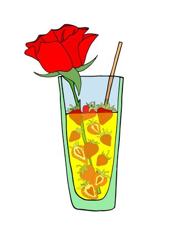 wed beauty: Tropical Love cocktail. Vector illustration. Isolated on white Illustration