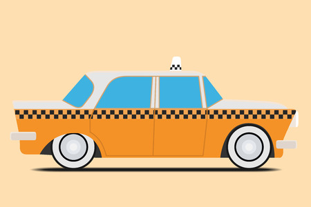 carting: Vintage Taxi car image. Isolated, Vector illustration