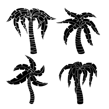 palm tree vector: Set of palm tree. Vector illustration, Isolated on white Illustration