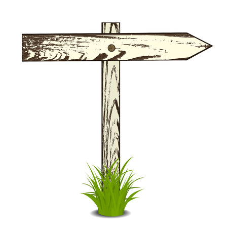 grass isolated: Wooden signs in a grass, isolated on white background, illustration.