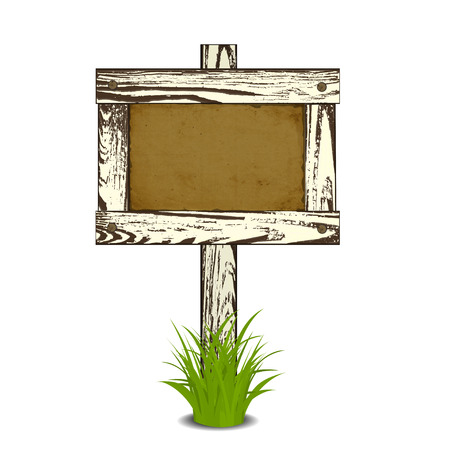 Wooden signpost with nailed paper sheet, grass and stones. There is space for your text. Vector illustration. Vector