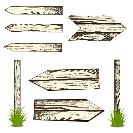 Set of wooden planks. Vector illustration, isolated on white