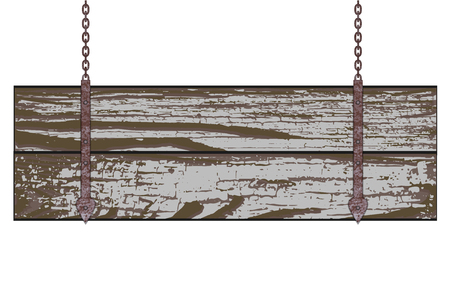 Old wooden board with rusty chain. Vector illustration Vector