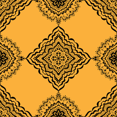 tile pattern: Vector seamless yellow pattern. Isolated on white