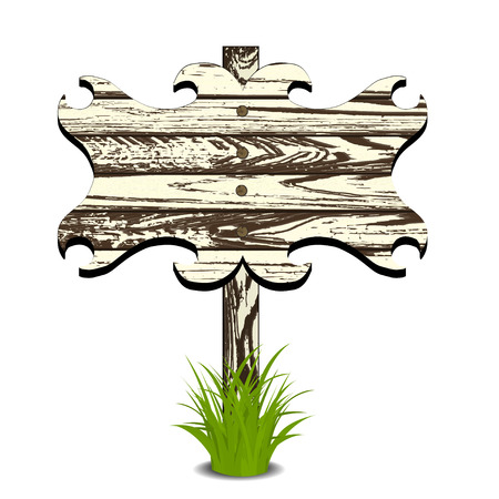plywood: Wooden sign on grass. Vector illustration. Isolated on white Illustration