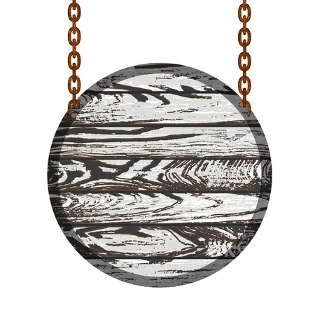 rusty chain: Old wooden board with rusty chain. Vector illustration