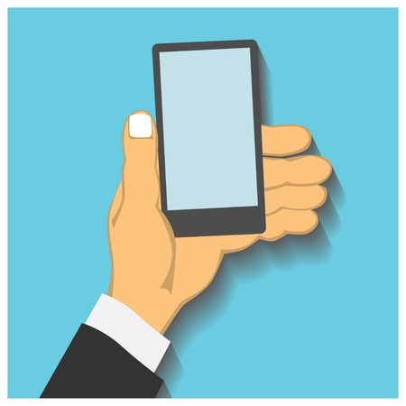 business hand: Flat design style illustration. Business hand holding smart phone. Isolated on blue background