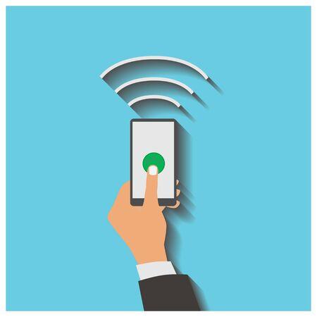 tecnologia comunicacion: Ilustraci�n vectorial de estilo Dise�o plano. Smartphone con el procesamiento de los pagos m�viles. Concepto de tecnolog�a de la comunicaci�n. Aislado en el fondo azul Vectores