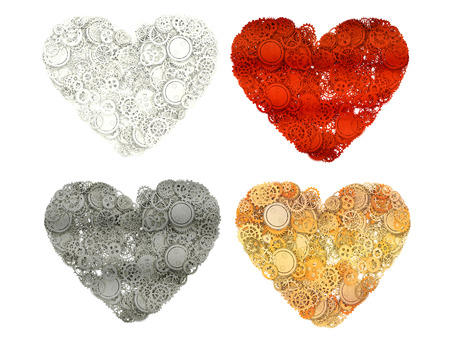 mariage: Set of Heart made from gears. 3d illustration Stock Photo