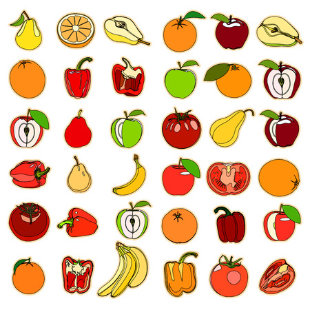 vegetation: Collection of a set of cute. illustration fruits and vegetation. Stock Photo
