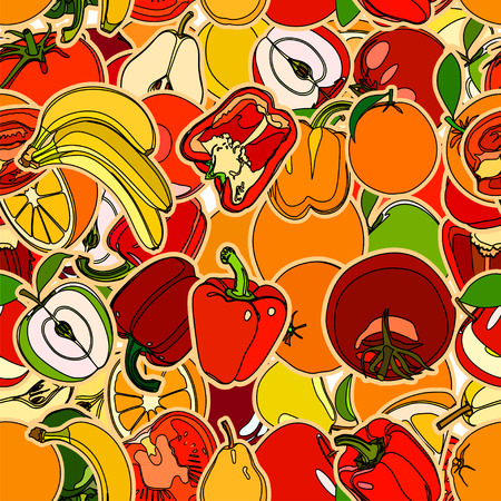 vegetation: Seamless pattern with set of fruits and vegetation. Seamless texture. Doodle, cartoon drawing. Illustration Stock Photo