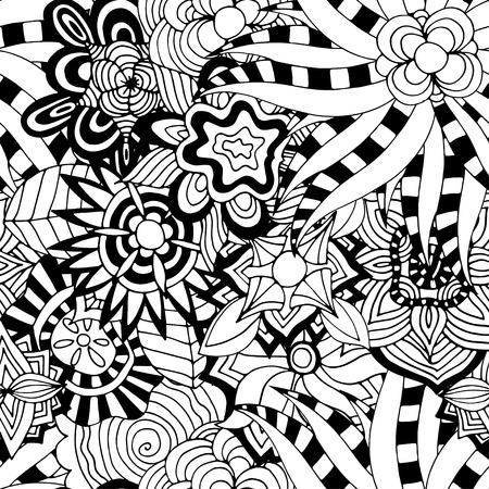 vitrage: Seamless Abstract Tribal Pattern. Vector illustration. Hand Drawn Texture