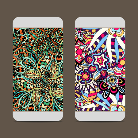 back to back couple: Mobile phone cover back for your design with abstract Pattern. Vector illustration