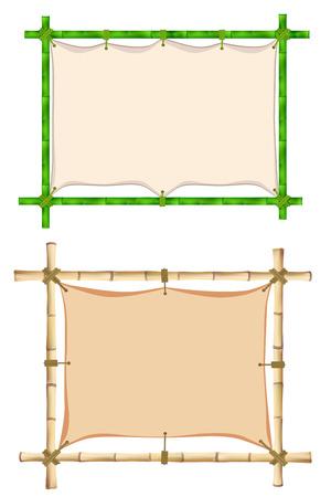bole: Set of Wooden frame of old bamboo sticks. Illustration. Isolated on white Stock Photo