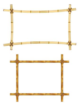 Set van Houten frame van de oude bamboe stokken. Illustratie. Geïsoleerd op wit Stockfoto