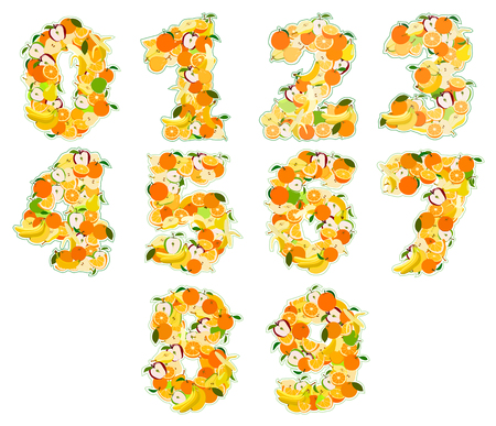pear shaped: Set of Juicy fruit in the form of numbers. Illustration. Isolatrd on white