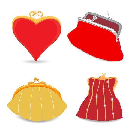 purses: Set of Beautiful purses. Isolated on white. illustration Stock Photo