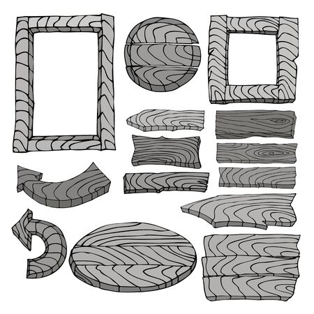 signposts: Set of wooden signposts. Hand-drawn Doodle. Illustration