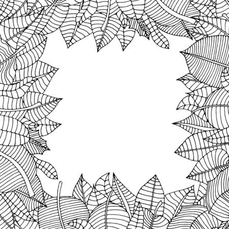 rimmed: Hermoso marco cuadrado de las hojas de dibujos animados. Ilustraci�n vectorial Vectores