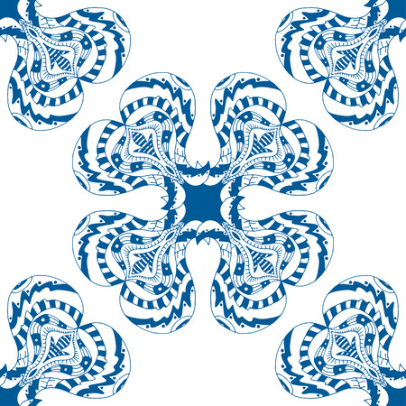 Vector seamless blue pattern. Isolated on white