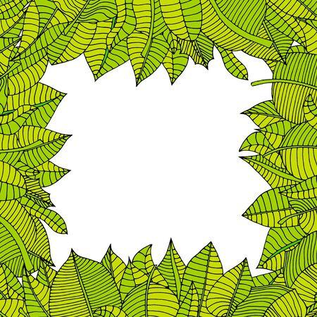 rimmed: Beautiful square frame of cartoon leaves. Vector illustration Illustration