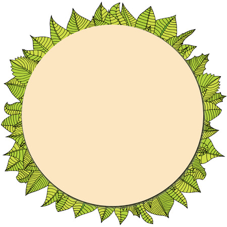 Doodle frame elements with leafs. Vector illustration