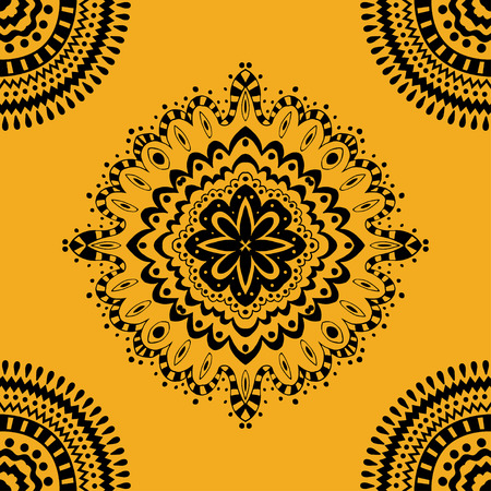 Vector seamless yellow pattern. Isolated on yellow Vector