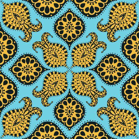 Vector seamless bleu, jaune, motif noir. Isolé sur blanc