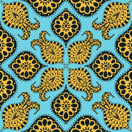 Vector seamless blue, yellow, black pattern. Isolated on white Vector
