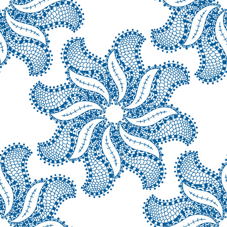 indian paint brush: seamless blue pattern. Isolated on white