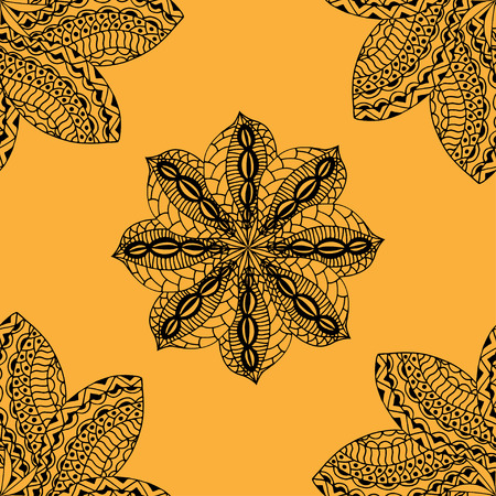 indian paint brush: seamless yellow pattern.