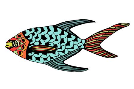 Zentangle stylized Fish.  Vector