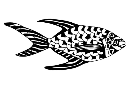 Zentangle stylized Fish. Vector
