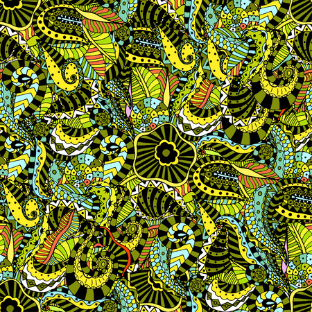 Seamless abstract hand-drawn floral pattern. Vector illustration