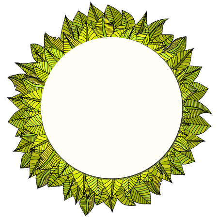 rimmed: Beautiful round frame of cartoon leaves. Vector illustration