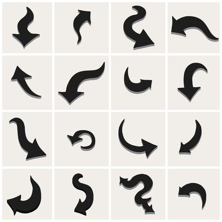 Set of black arrows. Vector illustration. Isolated Vector