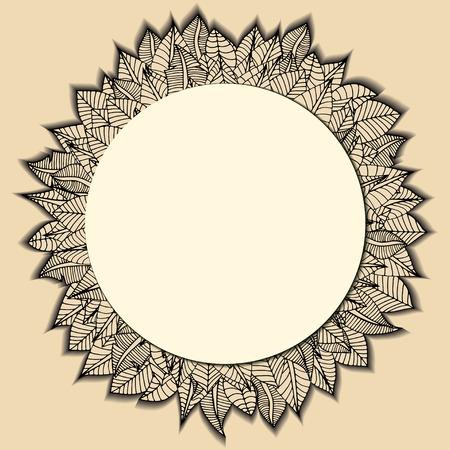rimmed: Hermoso marco ronda de hojas de dibujos animados. Ilustraci�n vectorial Vectores