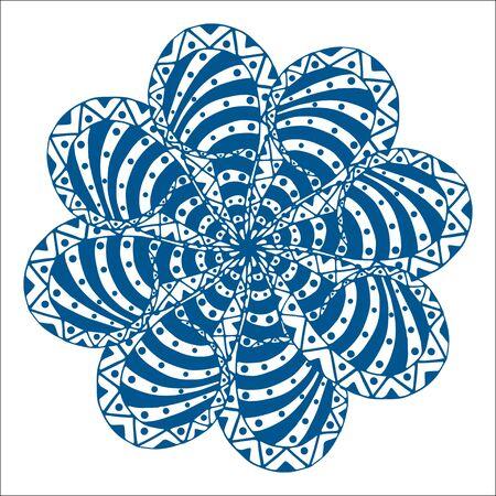 indian paint brush: Rosette ornament. Isolated on white. Vector Illustration