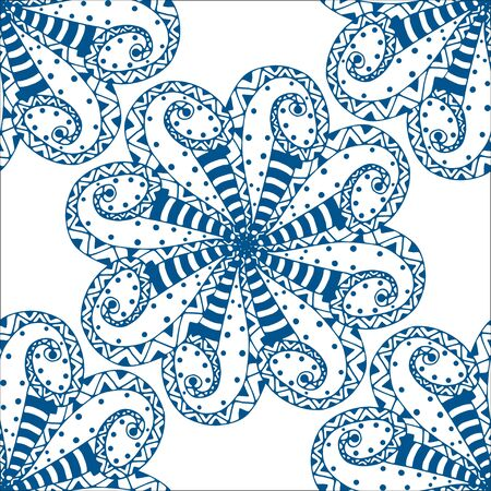 Vector seamless blue pattern. Isolated on white Vector