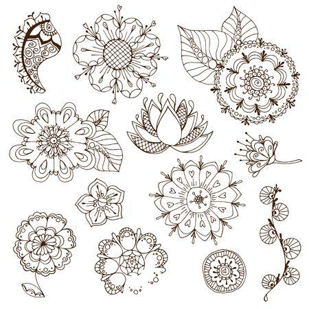 sketchy: set of sketchy doodle flowers. Vector illustration