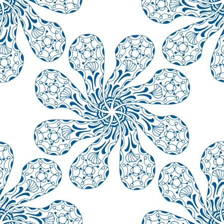 indian paint brush: Vector seamless blue pattern. Isolated on white