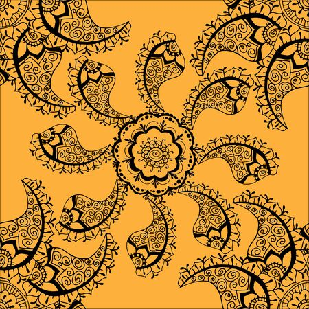 indian paint brush: Vector seamless yellow pattern. Isolated on yellow Illustration