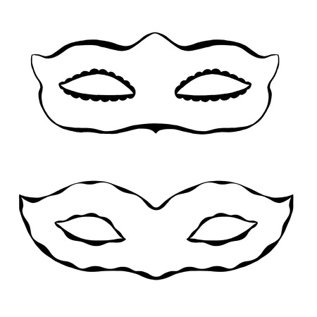 decoration decorative disguise: Set of Hand drawn ornamental masks. Vector art illustration.