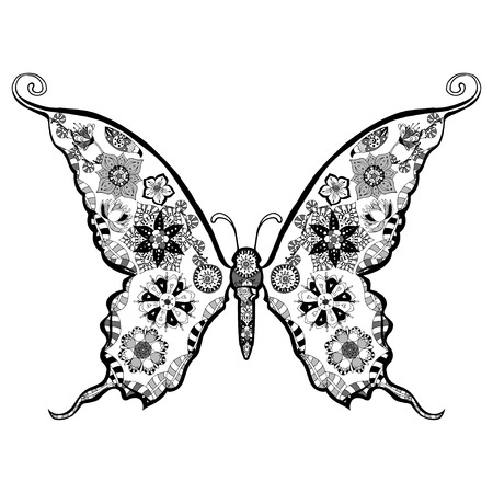Hand drawn, zentangle stylized butterfly vector, illustration