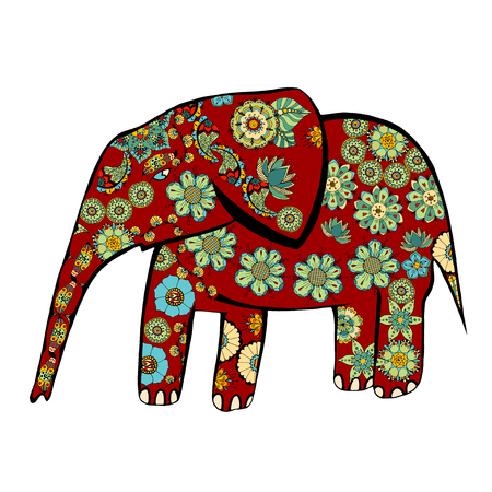 large group of animals: The cheerful elephant. The silhouette of the elephant collected from various elements of a flower ornament.