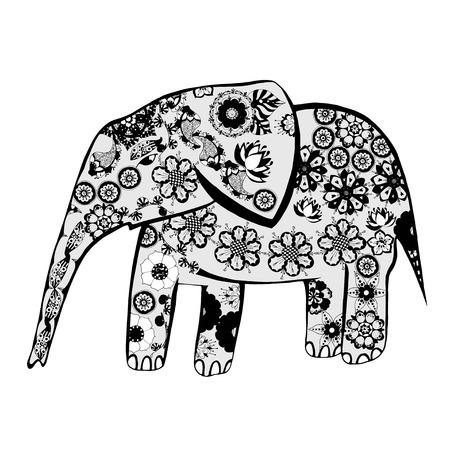 elefant: Der fröhliche Elefant. Die Silhouette der Elefanten aus verschiedenen Elementen einer Blume Ornament gesammelt. Illustration