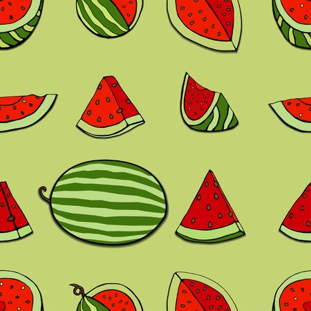 repeat pattern: Seamless repeat pattern with watermelon slices. Vector illustration