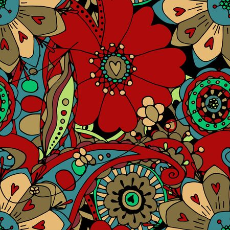 ornamental garden: Seamless Floral Pattern. Vector illustration. Hand Drawn Texture