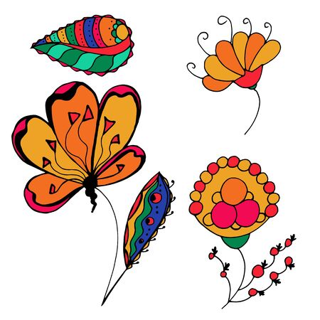 sketchy: set of sketchy colored doodle flowers. Vector illustration