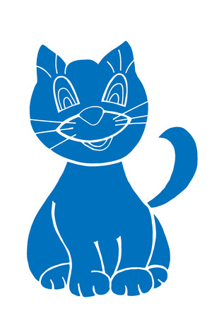 smiling cat: sketch of the blue smiling cat on white background, vector Illustration